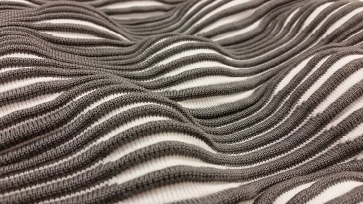 Textural knit sample with two  tone undulating pattern; textiles for fashion; experimental knitting // Taubman College