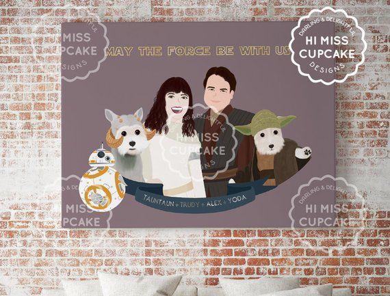 Custom Portrait Movie Themed Star Wars Print Boyfriend Gift Best Friend Gift Darth Vader Stormtroope