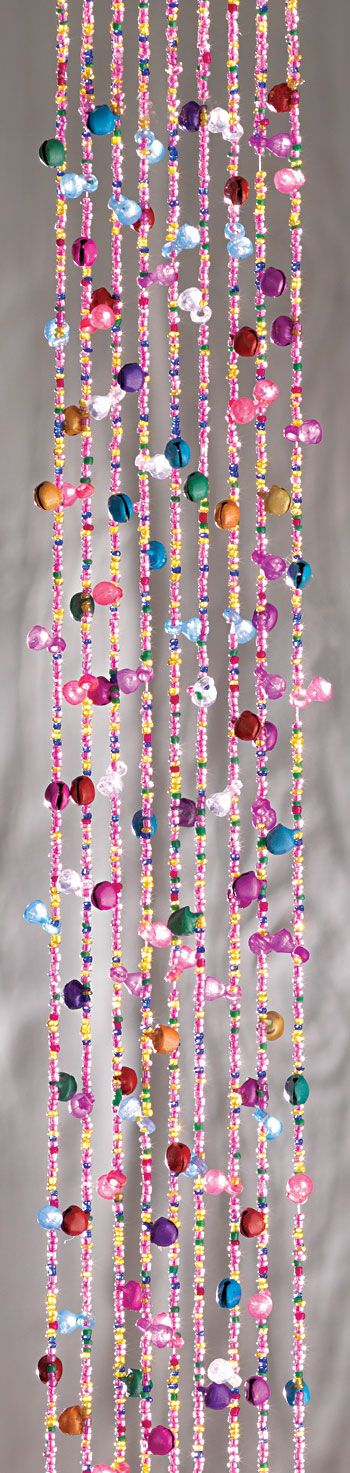 Beautiful coloured beads on strings with bells. These are great for decorations for a wedding, mehendi or hen celebration from www.fuschiadesigns.co.uk.