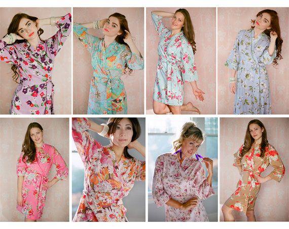 8 túnicas de dama de honor de encargo.  Conjunto de 8 batas.  Grande como túnicas boda coincidentes y los trajes de fiesta nupcial.