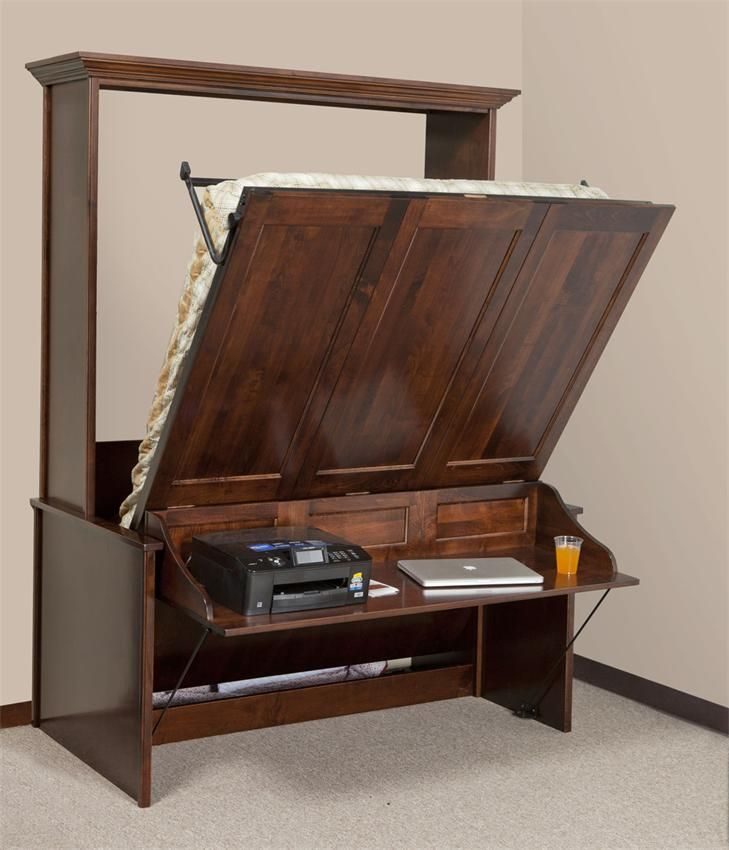 Amish Vertical Wall Murphy Bed with Desk American Benchmade Furniture