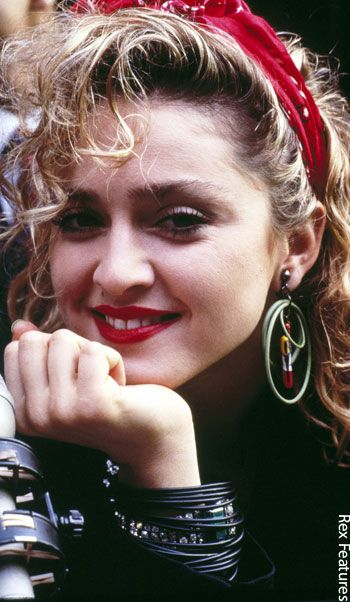 This is Madonna ' s look in 1980s, when she had debut album and followed it with a series of successful album and became 1980s fashion icon. Description from pinterest.com. I searched for this on bing.com/images