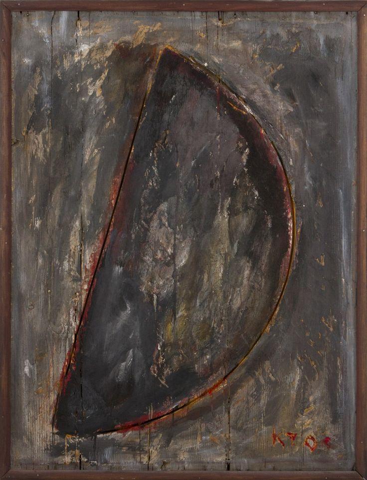 Kain Tapper: Puolikuu, 2004, maalattu puureliefi, 79x61 cm - Hagelstam K138