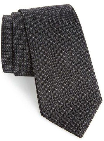 Men's Calibrate Grid Woven Silk Tie