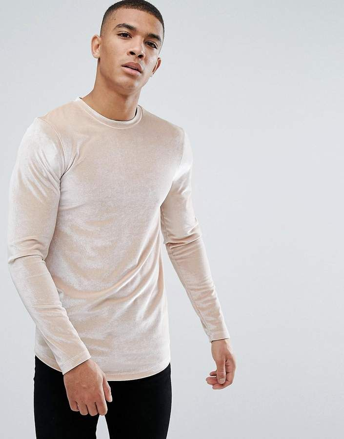 096fde90 Asos Design Longline Muscle Long Sleeve T-Shirt With Curve Hem In Beige  Velour