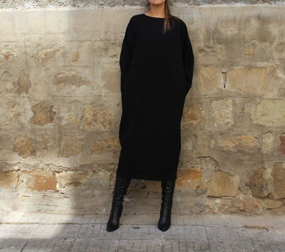 FALL WINTER Midi Black Elegant Dress/ oversized dress /Maxi Plus Size Oversized Long Party Caftan Dress