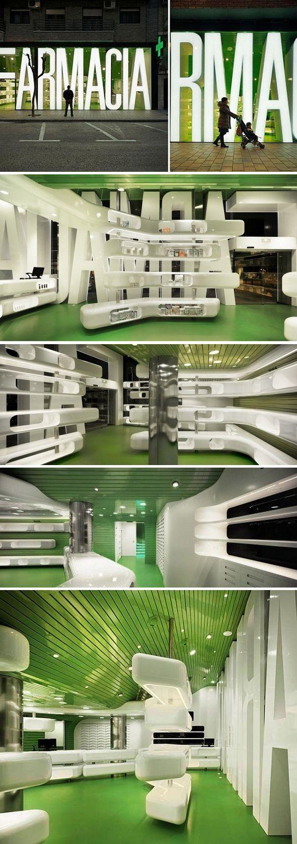 Casanueva Pharmacy / Clavel Arquitectos. Amazing design, just for a 'Farmacia'