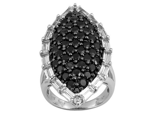 Black Spinel 3.52ctw With 2.61ctw White Zircon Sterling Silver Ring
