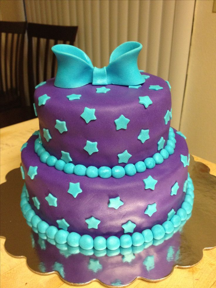 Purple And Teal Birthday Cake My Cakes Pinterest