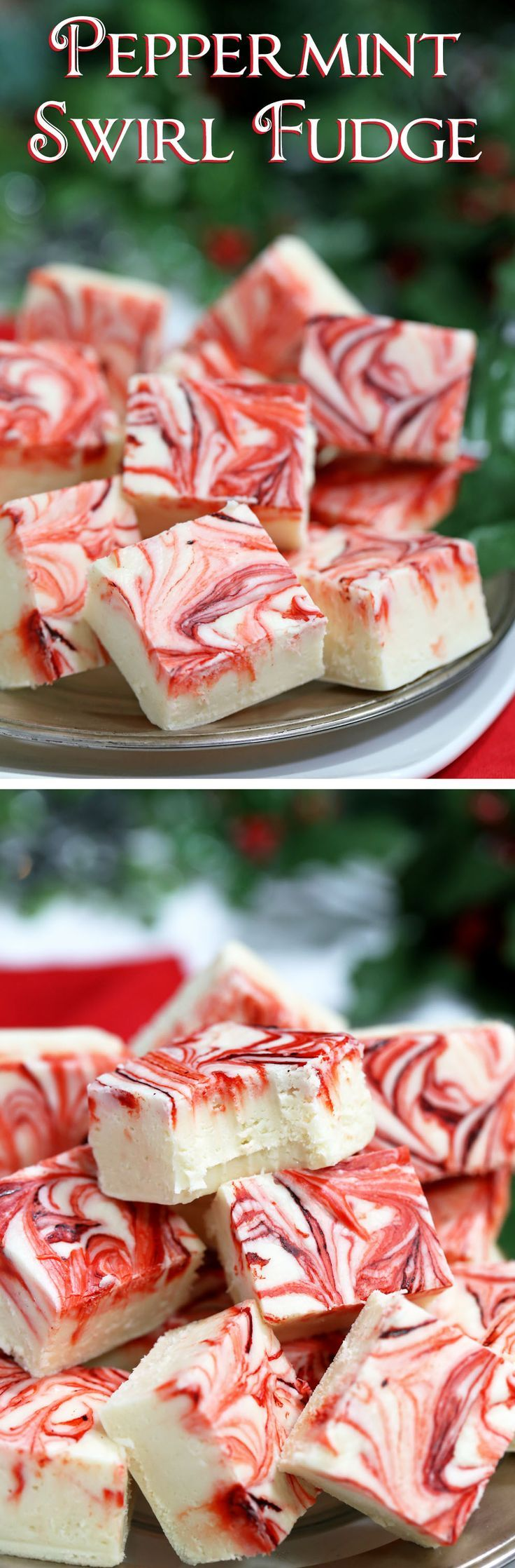 Swirled Peppermint Fudge - white chocolate fudge with a peppermint flavor! Super easy, and great for gifts! | From http://candy.about.com