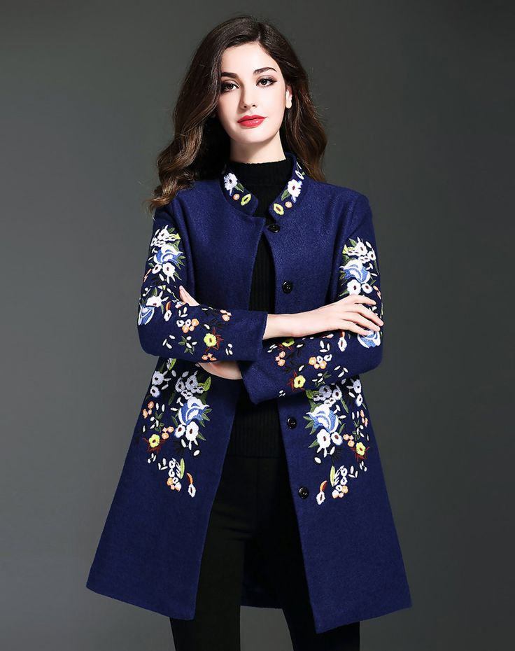 #AdoreWe #OOTD multiflora Blue Woolen Slim Fit Floral Embroidered Coat - AdoreWe.com