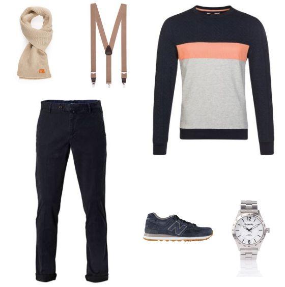 Casual Outfit outfit - Vrijetijdskleding - Deze casual outfit is lekker makkelijk maar toch nog modieus. De trui van River Island met kleuraccent is een echte blikvanger. De broek van GANT en de sneakers van New Balance vullen de trui mooi aan. De outfit is compleet met het horloge van Superdry, de bretels van Michaelis en de sjaal van Superdry.
