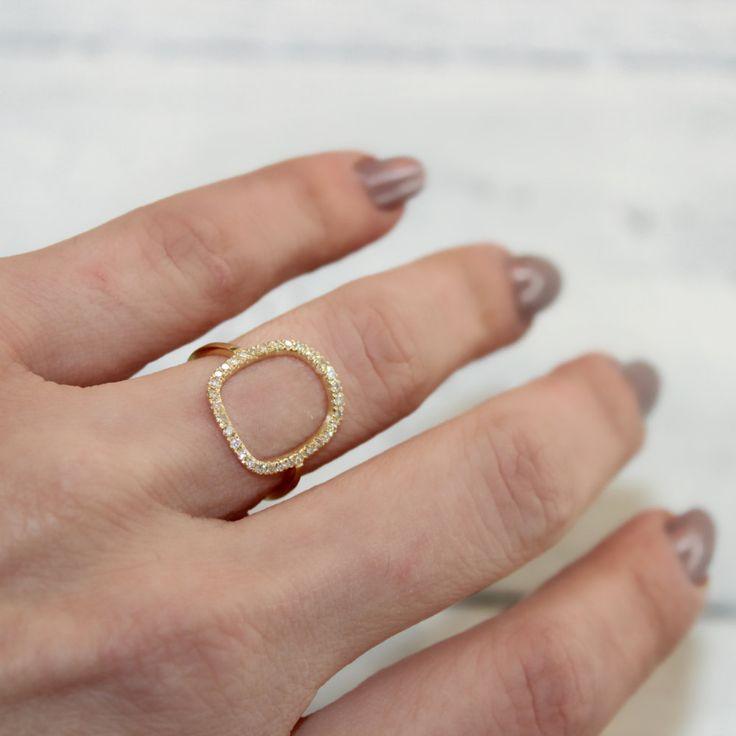 Pave Diamond Ring Open Circle Ring Modern Women Ring 18k