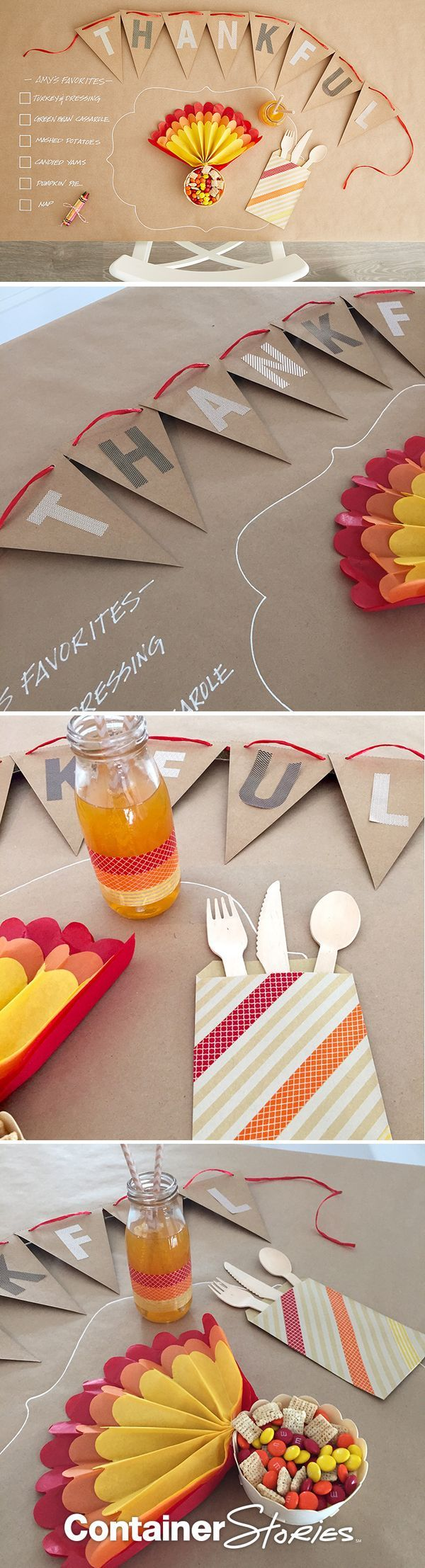 DIY Table Decorations Keep the kids (and adults) entertained with this fun idea. Start by covering your table with our Kraft wrapping paper. Then trace the outline of a place mat at each place setting using our Chalk Markers. Finally, add a fun quiz or question and let everyone write their answers on the table!  Turkey Tail Feather Snack Bowls and a cute Personalized Pennant help complete the look and are sure to keep kids entertained and seated!