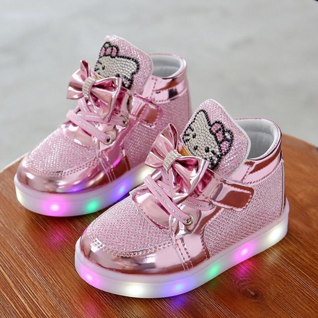 Best Price $5.80, Buy KKABBYII Children Shoes New Spring Hello Kitty Rhinestone Led Shoes Girls Princess Cute Shoes With Light EU 21-30