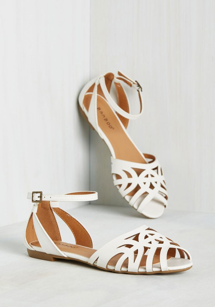 New Cheer, New You Sandal. Update your wardrobe in just one step by adding in these white flats! #white #modcloth