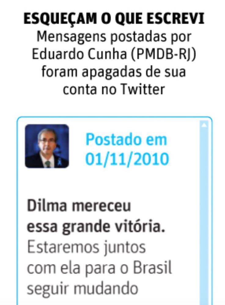 O presidente da Câmara, Eduardo Cunha, apaga mensagens da rede social Twitter que eram favoráveis a presidente Dilma Rousseff. No microbolg, Cunha adota o hábito de políticos do mundo inteiro, uma vez que o utiliza para propagar entre seus seguidores seu posicionamento sobre diversos assuntos e mandar recados.  Foto: Twitter Eduardo Cunha – Folha de São Paulo