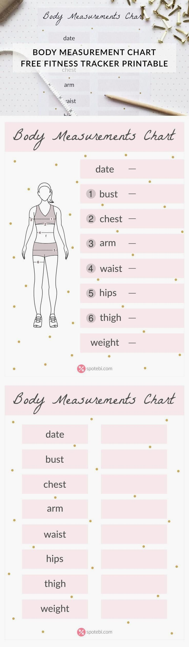 Free body measuremen  Free body measurement chart! Get your workout plan together, set your exercise goals and track your progress with our fun fitness tracker printable templates!  www.spotebi.com/...