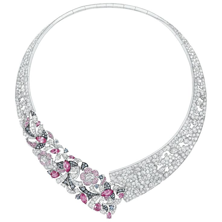 Jeanne #Necklace from #CocoAvantChanel - #Chanel - #FineJewelry collection in 18K white gold set with 11 #FancyCut - #PinkSapphires (10,32 cts), 11 fancy cut #Diamonds (2,33 cts), 94 #RoundCut pink #Sapphires (1,72 ct), 82 round cut grey #Spinels (3,01 cts) and 633 #BrilliantCut diamonds (33,77 cts) - January 2017