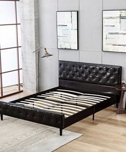 7de471a975c6 Mecor Faux Leather Diamond Button Upholstered Twin Full Queen Size Platform  Beds Frame
