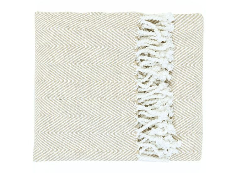 Fabio Cotton Throw Beige -  a beautiful 100% cotton throw with a fringed tassel edge is perfect for draping over the end of a bed