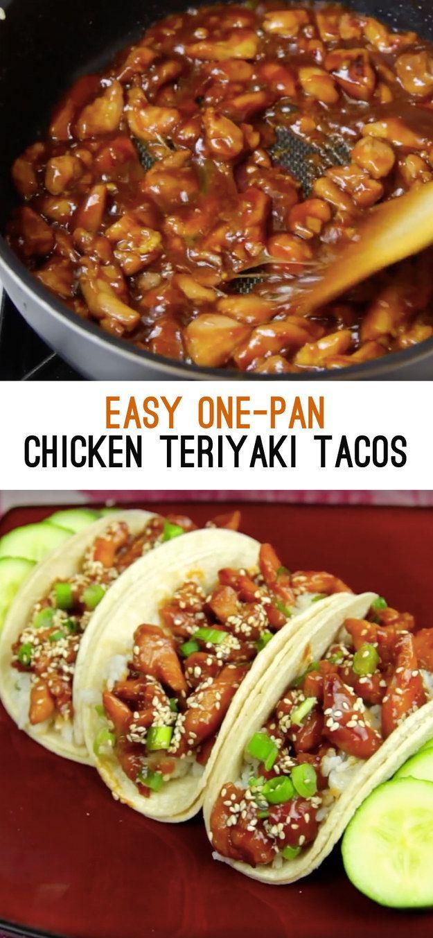 Tacos de pollo teriyaki hechos en la sartén | 15 Deliciosas recetas para probar en 2016