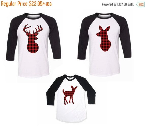 Adult Deer Shirt Plaid Hunter Deer and Doe by TheCutestCottons
