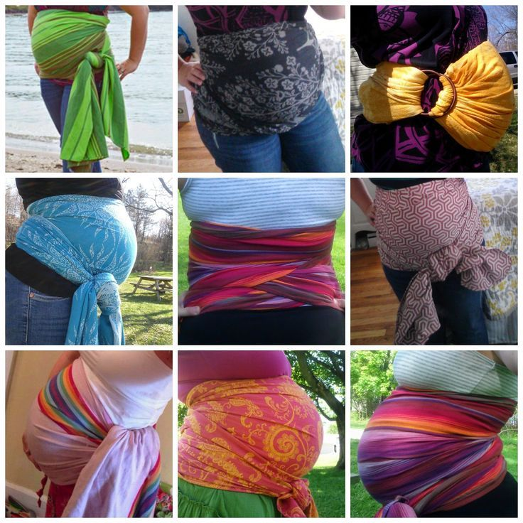Belly Wrapping with your woven wrap or ring sling for pregnancy support with photos and video tutorials for different wrap lengths.