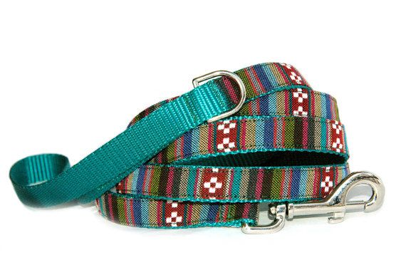 Southwestern stripe dog leash. Navajo tribal Native American Mexican inspired cute pet leash. Matching dog collar & harness are available.