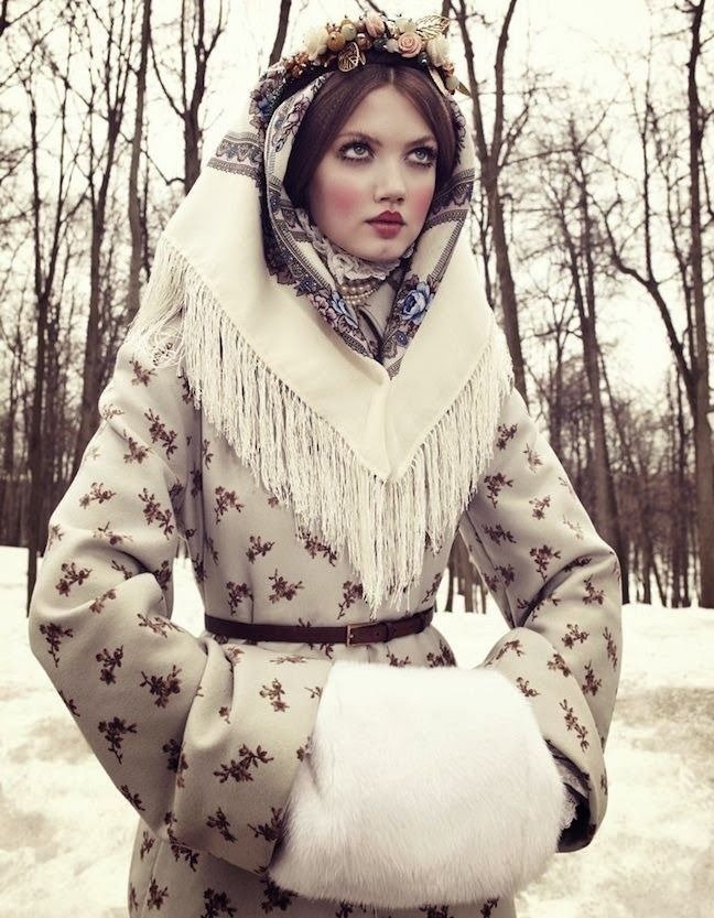 """""""The Anastasia of Winter"""": Lindsey Wixson as Grand Duchess Anastasia (Daughter of the Last Tsar of Imperial Russia) by Emma Summerton for Vogue Japan December 2013"""