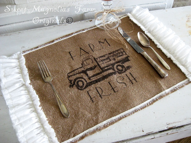 "Burlap Table Placemats - ""Farm Fresh"" - Vintage Truck -  Ruffled Sides  -  Rustic Romance. $13.50, via Etsy."