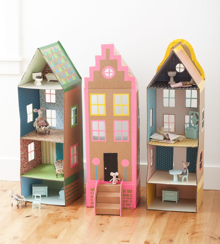 cardboard brownstone doll houses - fun for kids to decorate and play with