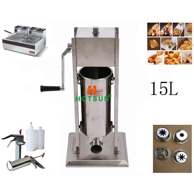 675.00$  Watch here - http://ali3nl.worldwells.pw/go.php?t=32782789032 - Free Shipping 15L Manual Spanish Donut Churros Machine W 12L Deep Fryer N 700ml Filler