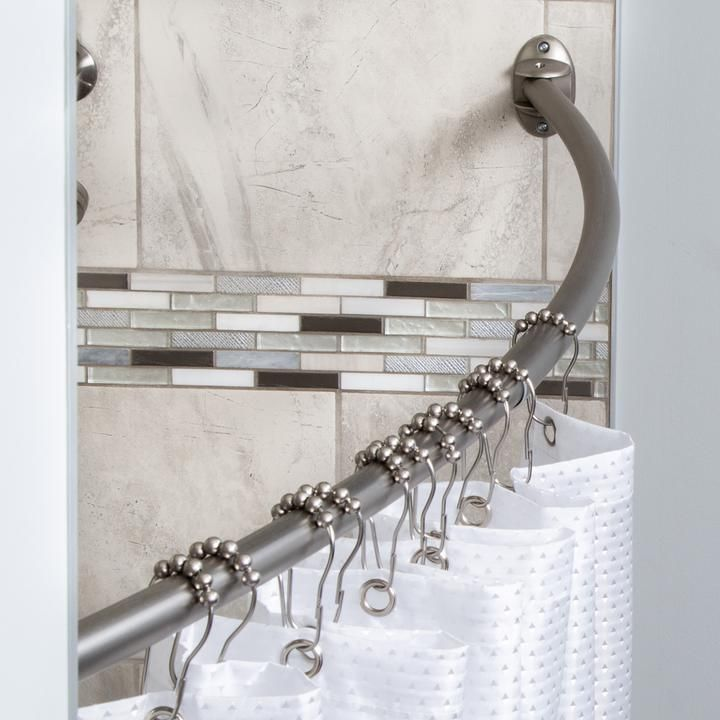 Adjustable Curved 72 Inch Shower Curtain Rod Nickel With Images