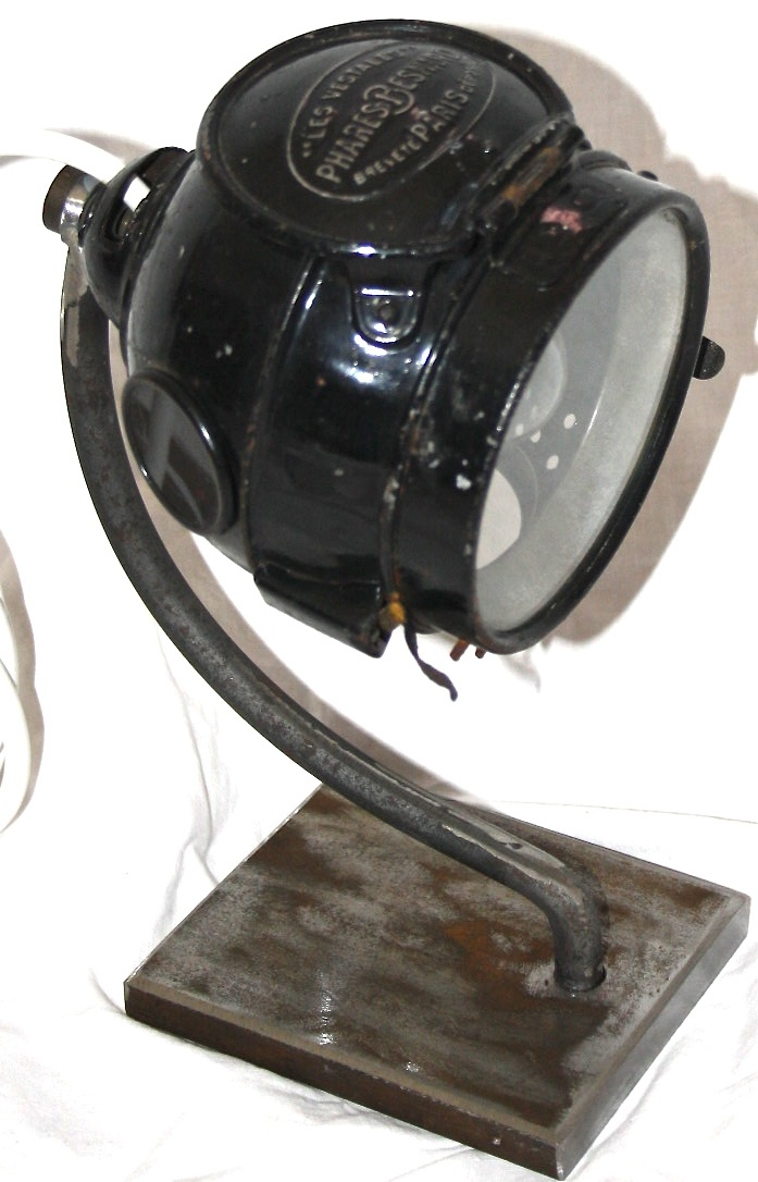 Vintage working french car head light lamps - amazing on a desk