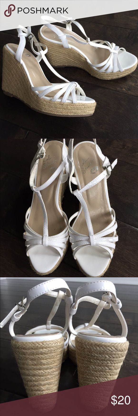 Colin Stuart white espadrilles Colin Stuart white strappy espadrille wedge sandals. Excellent used condition. Colin Stuart Shoes Espadrilles