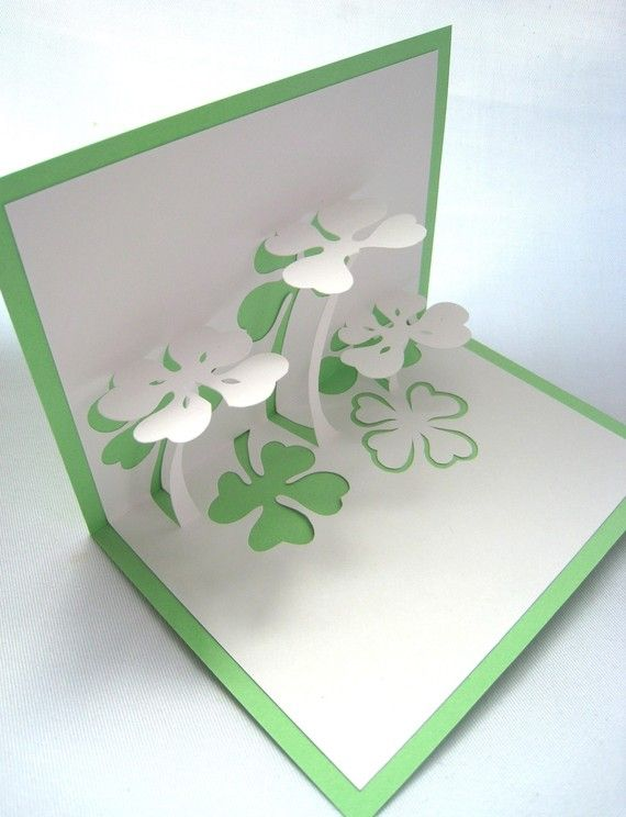 Lucky Four Leaf Clover Pop Up Card by CookieBits on Etsy, $7.85