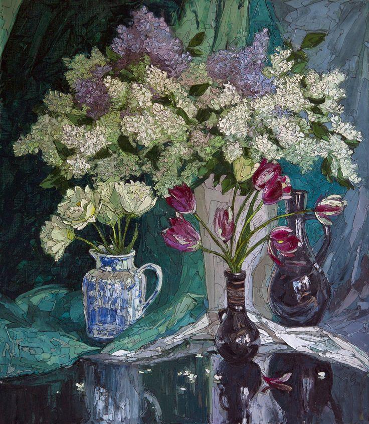Натюрморт с сиренью и тюльпанами