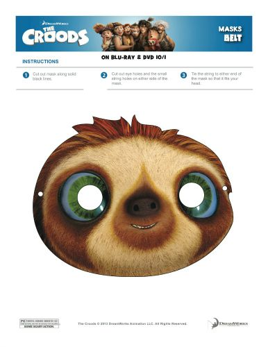 The croods printable belt mask printable coloring pages for Sloth mask template
