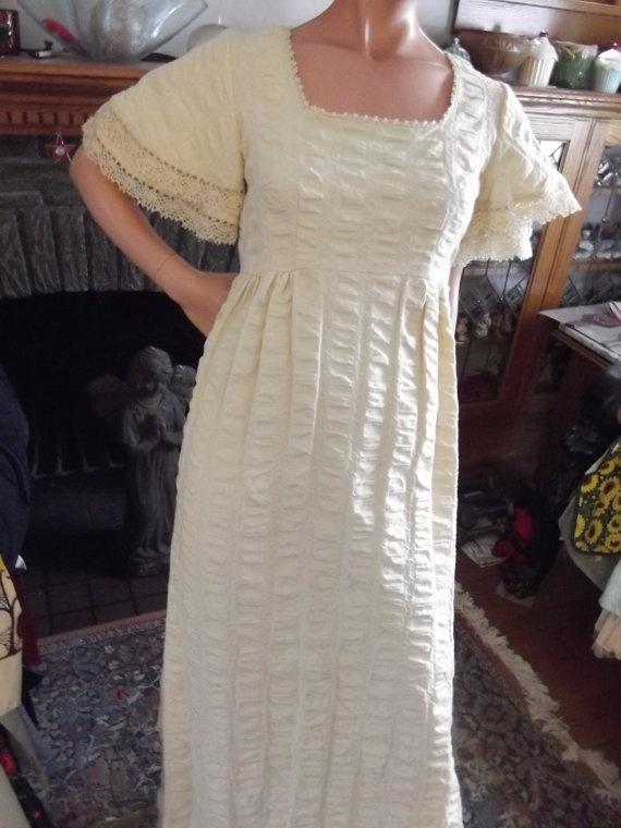 Vintage Maxi Dress 60s Hippie Boho Summer Dress of Puckered Ecru Muslin. Bell Sleeves, Lacy Edges