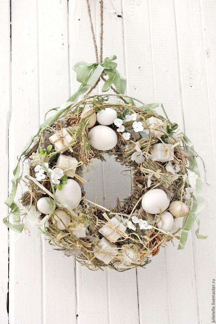 Купить Пасхальная композиция - бежевый, зеленый, Пасха, пасхальный сувенир, пасхальное украшение, пасхальный венок
