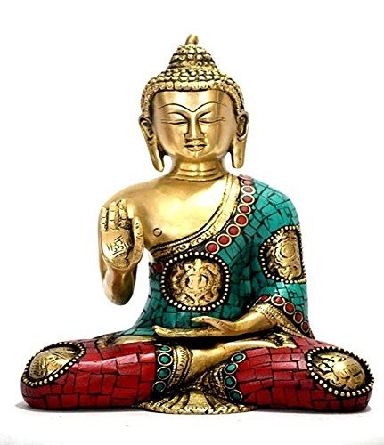 8 Large Buddha Statue Brass Metal Antique Buddha Sculpture Coral Turquoise Gemstone Work Vitaraka Ashtmangal Buddha ** Check this awesome product by going to the link at the image.