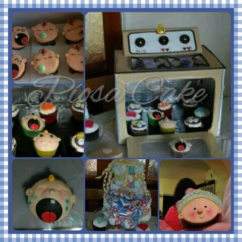 Baby shower *bun in the oven* cupcakes & diaper cake made by me. The oven is also made by my crafty self