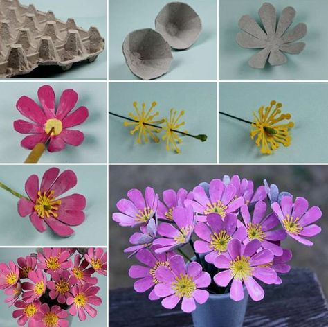 mexer com instruções da caixa de ovos-flores-de-rosa-amarelo-primavera-idéia-verão   – Basteln