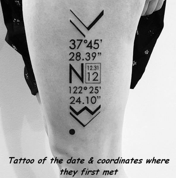 Tattoo des Tages: Koordinaten des ersten Treffens on http://www.drlima.net