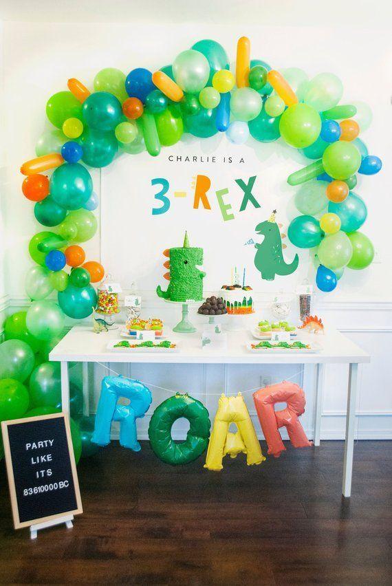 3-Rex Three Rex Dinosaur Party Backdrop Birthday Party INSTANT DOWNLOAD Printable DIY download