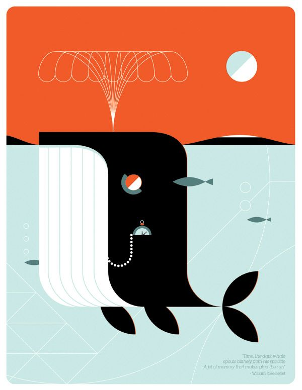 I love everything about this whale illustration. The colors, the layout, the geometry, even the little quote at the bottom. Indubitably.  #illustration