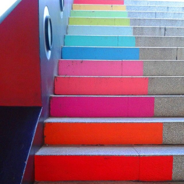 Color me contenta..Somewhere over the rainbow stairs at La Maquinista Centro Comercial, Barcelona