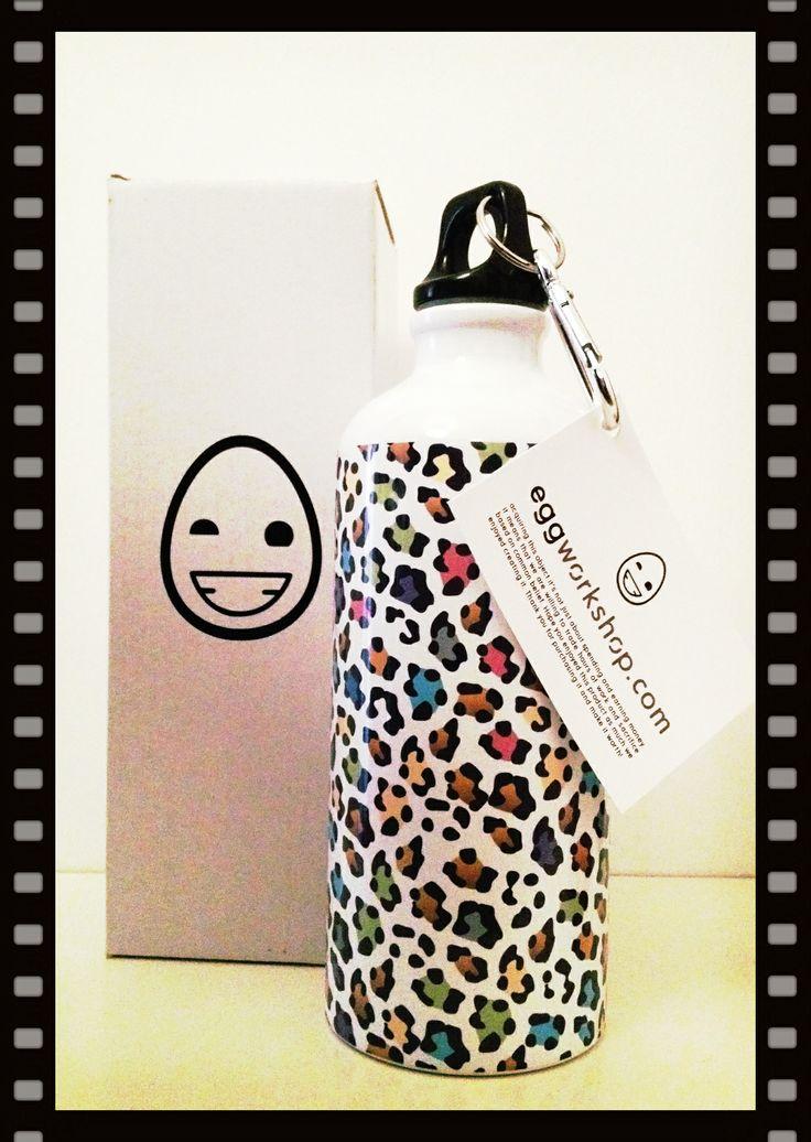 Funny Leopard Squeeze Water Bottle 600ml Aluminium. www.eggworkshop.com