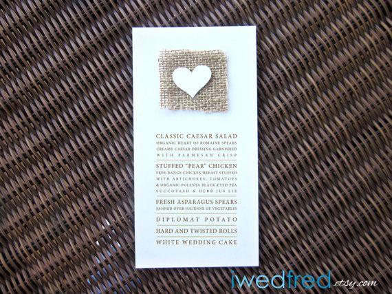 DEPOSIT Simply Love  Real Burlap Menu Card by iwedfred on Etsy, $50.00